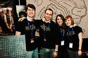 Presenting a united front at PAX East 2013 was Boston's Tenwall Creatives Patrick Monroe, animator; Justin Novelline, creative director; Danielle DiFalco, senior illustrator and Julia Messier, illustrator.