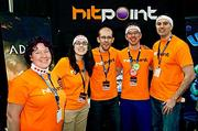 Orange you impressed with the team at Hitpoint? Representing Hitpoint of Amherst, Mass. was from left: Gwen Murray, senior animator; Kathryn Taccone, animator and art tech; Paul Hake, president; Tom Graham, producer and Jay Zak, 3-D modeler.