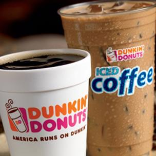 Photo of Dunkin' Donuts coffees.