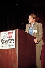 Kristen LeRoy took to the stage to accept  Infoscitex Corporation's Pacesetters award at the Boston Business Journal's 2012 Pacesetters Awards Breakfast.