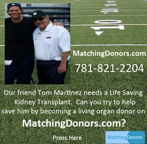 Tom Brady and Tom Martinez in a Matchingdonors.com promotion.