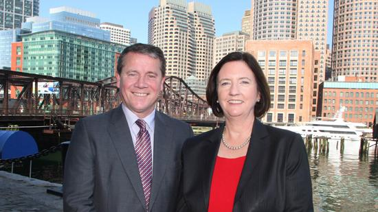 Former Boston Police Commissioner Kathleen O'Toole (right) with Netwatch CEO David Walsh, in Boston. The Irish firm has brought O'Toole onto its board of directors in a bid to expand into the U.S.