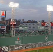 "The left-field Green Monster after the 2003 addition of 370 ""Green Monster seats,"" one of the first major renovations the new Red Sox owners undertook at Fenway."