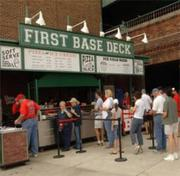 2005's clubhouse renovations also included the first base deck, an open area where fans can stand and view the game.