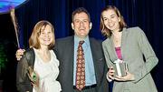 Post-award smiles were shown by CA Technologies Robyn Grady, HR business partner, wellness ambassador and program director Joshua Brickman, and Kim Wozniakewicz, Marketing Communications Analyst and also a wellness ambassador. CA Technologies was the winner of the Healthiest Employer Large Company category at the Boston Business Journals Healthiest Employers awards breakfast.
