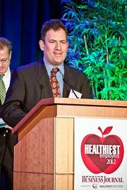 Winner of the Healthiest Employer Large Company category went to CA Technologies. Accepting the award was wellness ambassador, Joshua Brickman, program director.