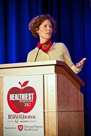 """Tara Healey, program director of mindfulness-based learning at Harvard Pilgrim Heathcare, gave a presentation at the Boston Business Journals Healthiest Employers awards breakfast entitled """"Practical Strategies for Employing and Practicing Mindfulness During the Day."""""""