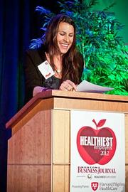 Meditation guru Rebecca Pacheco opened the Boston Business Journal's Healthiest Employers awards breakfast by explaining a bit about the benefits of meditation then led the audience in a five minute meditation.