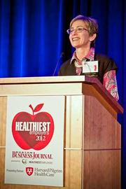 Dr. Roberta Herman, COO at Harvard Pilgram Health Care introduced the keynote speaker at the Boston Business Journals Healthiest Employers awards breakfast. Harvard Pilgram Health Care was a presenting partner of the event.