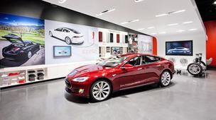 Tesla store with Model S prototype
