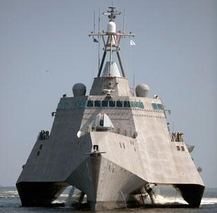 """Derided for its """"Klingon Bird of Prey"""" design and fire-prone aluminum construction, General Dynamics' Littoral Combat Ship is among the largest projects in the U.S. Navy's budget. Defense spending cuts loom, and as many as 500 Massachusetts jobs are tied to the project."""