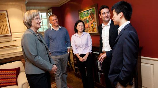 Winners of the Harvard University President's Challenge for social enterprise startups meet with President Drew Faust (from left). Vaxess Technologies' founding team includes Michael Schrader, Kathryn Kosuda, Livio Valenti and Patrick Ho.