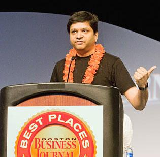 HubSpot founder and CTO Dharmesh Shah acknowledges their first-place Best Places to Work award in the midsize company division at the 2011 Boston Business Journal's Best Places To Work event, held Thursday at the Boston Convention & Exhibition Center.