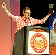 """Dan McCallum accepted Digitas' award in the large company division at BBJ's Best Places To Work event, Thursday, and used the opportunity to thank the company for hiring """"freaks like me!"""""""