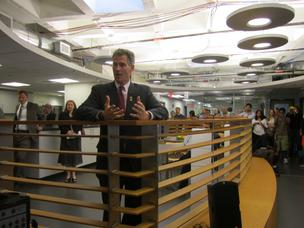 Sen. Scott Brown addressing a group at the Cambridge Innovation Center Friday, June 10, 2011.