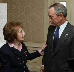 Charlotte Bloomberg, who died Sunday, and her son, New York mayor Michael Bloomberg, in a 2003 photo.