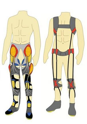Illustration showing how the planned military smart suit might be worn