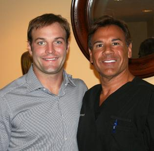 New England Patriots wide receiver Wes Welker with Dr. Robert Leonard. Welker will be doing ad spots for Leonard's Cranston, R.I. firm, Leonard Hair Transplant Associates.