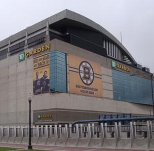 Photo of Boston's TD Garden, with the TD BankNorth logo and Boston Bruins banners featured prominently.