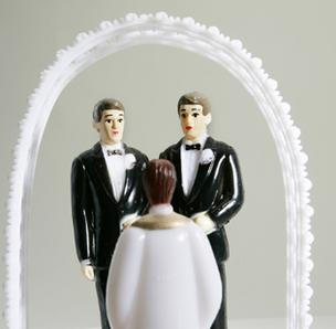 Gay marriage wedding cake topper