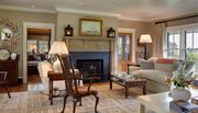 The living room at Blue Heron Farm. The purple hydrangeas are negotiable.