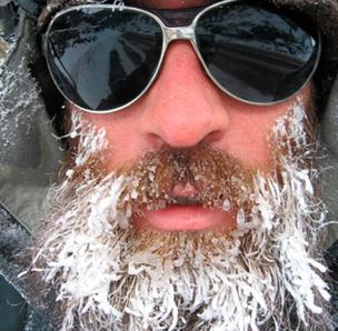 Photo of a man with ice in his beard
