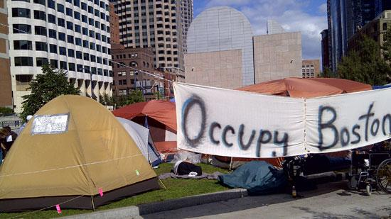 A Boston SEIU local chapter - the state's largest health care union - is backing Occupy Boston, the tent-city protest that has taken over Dewey Square in Boston's Financial District.