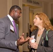 State Street Corp.'s Paul Francisco talked with TD Bank's Rosalin Acosta during the networking portion of the BBJ's Leaders in Diversity event, Friday