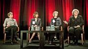 The panel discussion at the Boston Business Journal's Top 100 Women-Led Businesses Awards Breakfast comprised from left: moderator Andrea Cohen, CEO of Houseworks; Laura Sen, president and CEO of BJ's Wholesale Club, Inc.; Kip Hollister, founder and CEO of Hollister and Shirley Singleton, president, CEO and co-founder of Edgewater.