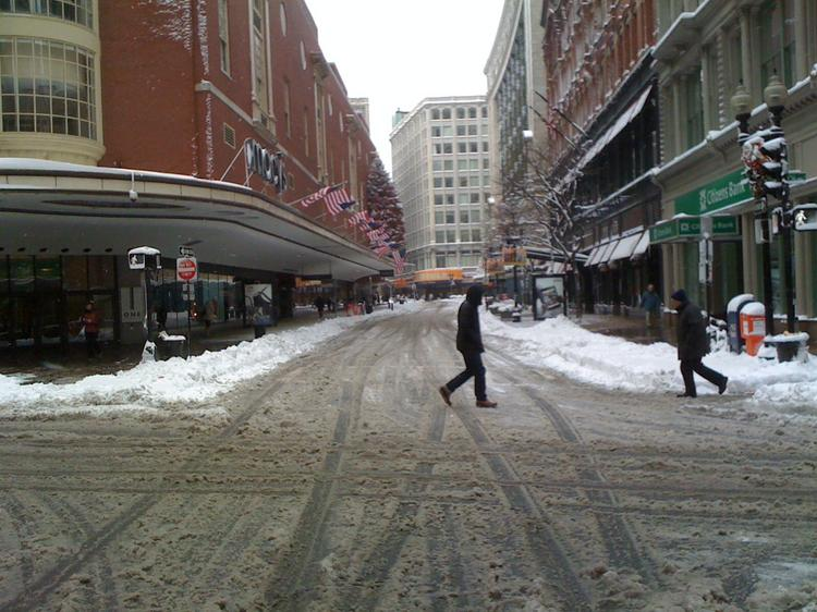 Downtown Crossing the day after the Blizzard of 2010 hit Boston