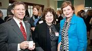 Katie Schuller-Bleakie of Simmons College (center) met up with Michael Krasner of Oxy System and his wife Jean Hammond who was honored at the Boston Business Journal's 2012 Advancing Women program.