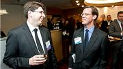 Boston Business Journal Forty Under Forty honoree Ian Roffman of Nutter McClennen & Fish LLP talks with Terence Burke of Denterlein.