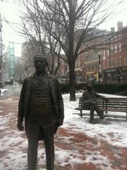 Congress Street/City Hall Winds and snow were intensifying in Boston by mid-morning Friday, forcing most city goers indoors and leaving the Congress Street statues of former mayor James Michael Curley and former mayor James Michael Curley to their lonesome.