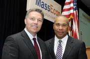 Jerry Sargent (left, with Gov. Deval Patrick) is president of Citizens Bank Massachusetts. More: BBJ announces Boston's Best Places to Work.
