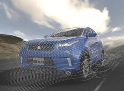 Exa Corp of Burlington makes software for simulating fluid flows, such as aerodynamic streamlines around a moving car, shown in this image.