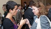 Having a one-to-one conversation at the Boston Business Journals 2011 Champions in Healthcare awards breakfast was Zamawa Arenas of Argus (left) and Kathleen Katell of the Massachusetts Hospital School Foundation.