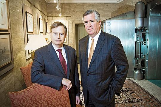 Mark Thompson, left, CEO of Boston Private Bank & Trust Company, with Clayton Deutsch, CEO of Boston Private Financial Holdings Inc. Deutsch is giving Thompson new power to oversee the holding company's four private banks.