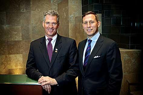 Boston law firm Nixon Peabody has recruited a number of prominent public officials recently, including former legislators Scott Brown, left, and Jim Vallee.