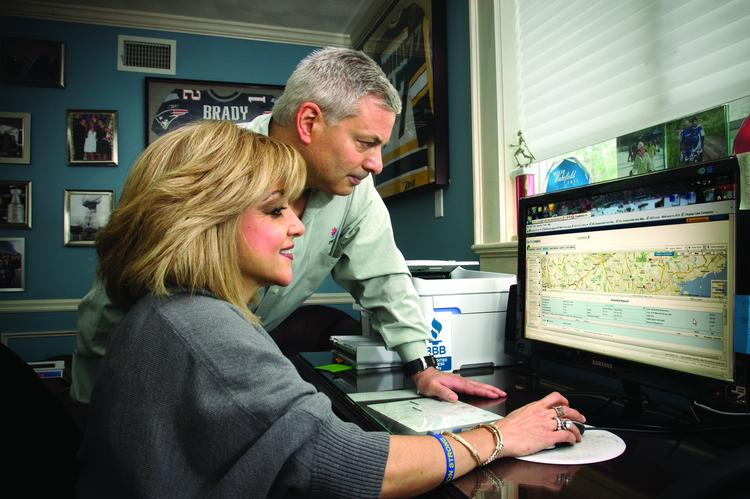 John and Amele Ambrosino of Total Temperature Control in Wakefield use a program called Fleetmatics to monitor their service trucks whereabouts.