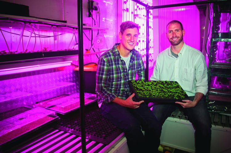 Co-founders of Freight Farms Jon Friedman, president, left, and CEO Brad McNamara, in a retrofitted shipping container using hydroponics and LED lighting to grow such plants as basil.