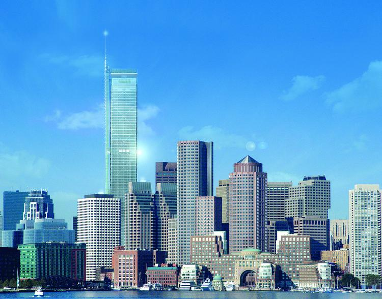 A rendering of a 1,000-foot skyscraper proposed for the Financial District by Steven Belkin that was shot down by the mayor.