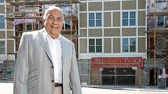 Michael Barsamian is a salon-owner who now is trying his hand at development with this building in West Roxbury.
