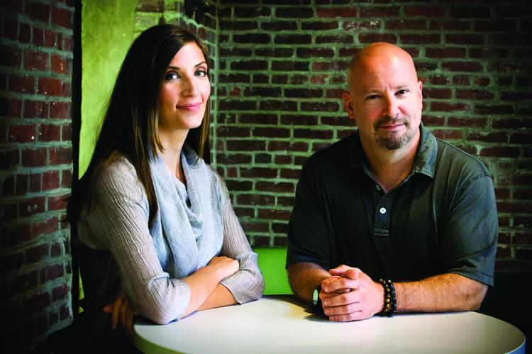 Hack/reduce's Executive Director Adrienne Cochrane and Chris Lynch, co-founder and partner at Atlas Venture.