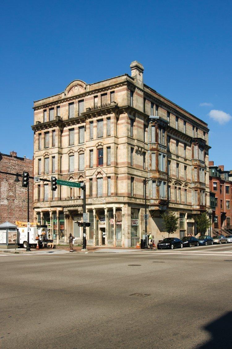 The former Alexandra Hotel at the corner of Washington Street and Massachusetts Avenue.