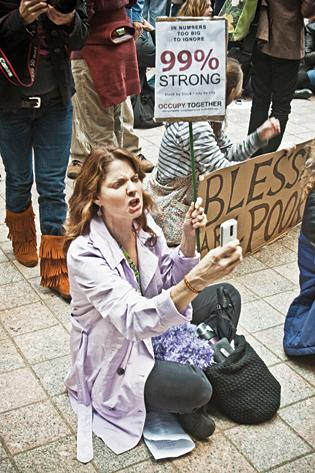 Elizabeth McConnell of Brockton at an Occupy Boston protest in Boston Wednesday afternoon.