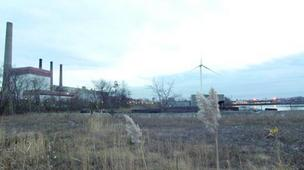 The former Monsanto site on the Mystic River in Everett (Exelon's Mystic Generating Station is on the left).