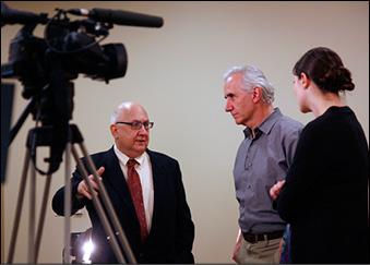 Boston Herald Editor Joe Sciacca with video production head Robert Greim and producer Katy Jordan.