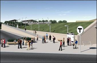 A rendering of a stop on the Indigo Line