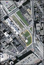 Parcel -- outlined in yellow -- on the Rose Fitzgerald Kennedy that proponents, including Mayor Thomas M. Menino, want to see developed with a ground-floor supermarket.