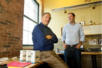 James Whitters III, left, and James Whitters IV say a growing interest in natural remedies is fueling interest in their nasal wash.